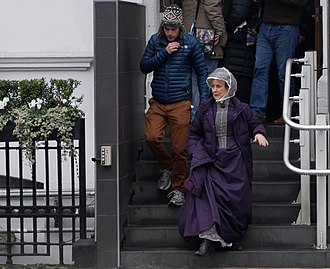 Una Stubbs - Stubbs pictured in February 2015, in costume whilst filming Sherlock