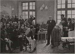 A wood-engraved reproduction of Brouillet's painting by Henri Dochy (1851–1915).