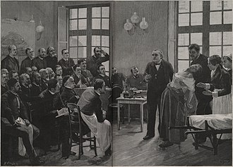 A Clinical Lesson at the Salpêtrière - A steel engraving reproduction of Brouillet's painting by H. Dochy.