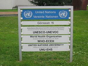 Schild - Vereinte Nationen-Campus (UN-Campus) ...
