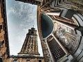 Universidad Laboral de Gijón vista de la torre y mosaico de de la iglesia.jpg