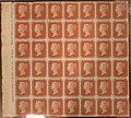 "Unused block of forty-two ""Penny Red-Brown"" postage stamps of Queen Victoria MET SF2002 399 11 img1.jpg"