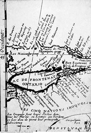 Name of Toronto - An early map depicting Teiaiagon and Lac Taronto, which would be renamed Lake Simcoe. Les Piquets refers to the fish weirs consisting of trees standing in the water. The Toronto Carrying-Place Trail is shown, simply marked as Portage, and Lake Ontario was then known as Lac de Frontenac.