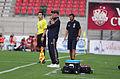 Valais Cup 2013 - OM-FC Porto 13-07-2013 - L'arbitre de ligne - Elie Baup - Paulo Fonseca.jpg