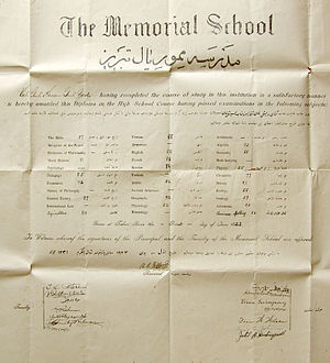 Education in Iran - Tabriz Memorial High School Diploma. Dated: June 1, 1923