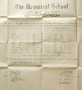 School leaving qualification - This Iranian diploma from 1923 lists the student's grades.