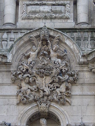 University of Valladolid - The emblem of the University of Valladolid sculpted into the facade of the School of Law
