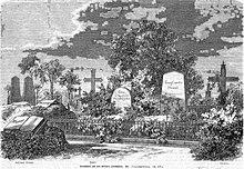 Das Varnhagen-Grab (links), Max Ring: Berliner Friedhöfe III. In: Über Land und Meer. Jg. 18(1868), Nr. 17, S. 280. (Quelle: Wikimedia)