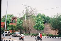 View of Gate and Bridge linkingSalimgarh Fort to Red Fort.JPG