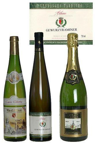 Alsace wine region - Some Alsacian wines in their specific bottles.
