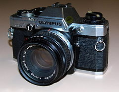 Vintage Olympus OM-10 35mm SLR Film Camera, Made In Japan, Introduced In 1979, With Electronic Control, Automatic Exposure And Focal Plane Shutter (20211811325).jpg