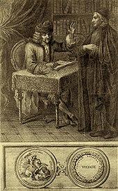 """Ο Βολταίρος συζητά με έναν κληρικό. Γκραβούρα του 1764 που φέρει τον τίτλο """"Ο Βολταίρος και η θρησκεία""""."""