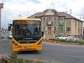 Volvo bus on line 800 and Town Hall, 2017 Dorog.jpg