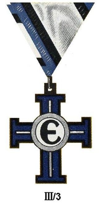 Orders, decorations, and medals of Estonia - Image: Vrijheidskruis III 3 Estland Civiel