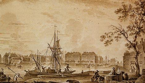Dessin représentant l'ouest de l'île Feydeau et le quai de la Bourse.