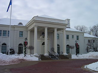 Wisconsin Governor's Mansion - Wisconsin Governor's Executive Residence front entrance in winter.