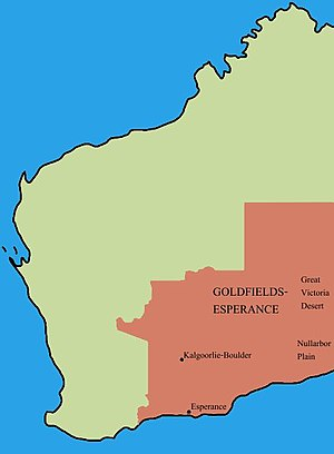 Goldfields-Esperance - Location of Goldfields-Esperance region