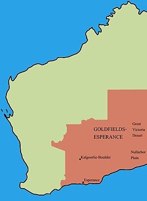 Goldfields-Esperance - Location of Goldfields-Esperance region