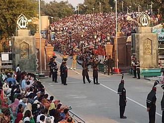 Wagah - The evening flag lowering ceremony at the India–Pakistan international border near Wagah