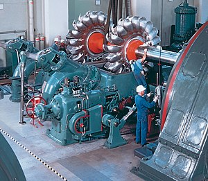 Pelton wheel - Assembly of a Pelton wheel at Walchensee Hydroelectric Power Station, Germany.
