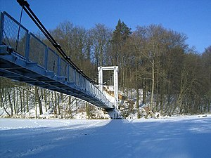 Wałcz - Suspension bridge on Raduń in winter