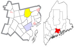 Location of Monroe (in yellow) in Waldo County and the state of Maine