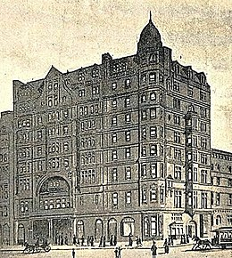Drawing of Wallack's Theatre at 30th Street and Broadway, showing the apartments planned for over the entrance, which were not built