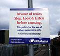 Warning sign, Adelaide halt - geograph.org.uk - 1722380.jpg