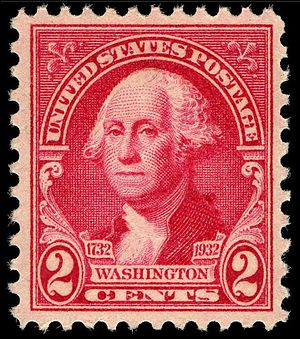 Washington Bicentennial stamps of 1932 - The 2c Washington Bicentennial stamp, 1932 issue This is one of a set of 12 stamps commemorating the 200th anniversary of George Washington, paid the common letter rate and was the most frequently used.