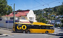 Wellington trolleybus 385 turning into Cleveland St from Brooklyn Library stop.jpg