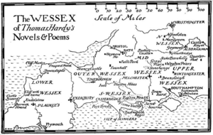British regional literature - Locations in Wessex, from The Wessex of Thomas Hardy by Bertram Windle, 1902, based on correspondence with Hardy.
