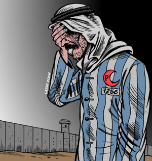 International Holocaust Cartoon Competition - This cartoon by Carlos Latuff won second prize in the 2006 competition.