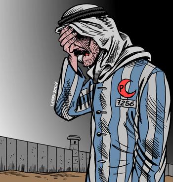 Cartoon about the en:Israeli West Bank barrier