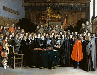 The swearing of the oath of ratification of the Treaty of Munster in 1648 that ended the Eighty Years' War between Spain and the Netherlands. Oil on copper by Gerard ter Borch, 1648 Westfaelischer Friede in Muenster (Gerard Terborch 1648).jpg
