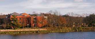 The Westport Library taken from the opposite side of the Saugatuck River. Westport Public Library.jpg