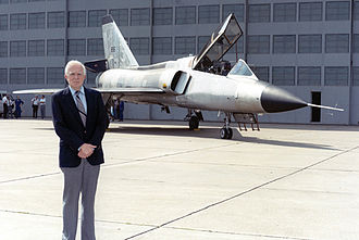 Richard T. Whitcomb - Whitcomb in front of the area-ruled Convair F-106 used by NASA for flight research, on its retirement in 1991