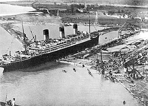 RMS Majestic (1914) - Majestic entering King George V Graving Dock at Southampton, in 1934