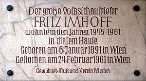 Fritz Imhoff - Image: Wiedner Hauptstraße 23