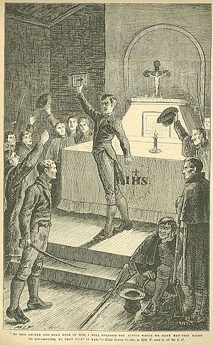 Burning of Wildgoose Lodge - 1881 illustration from Carleton's account, intent on demonising the perpetrators.