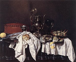 Old Master - Still Life with Pie, Silver Ewer and Crab by Willem Claeszoon Heda (1658) Oil on canvas Frans Hals Museum, Haarlem