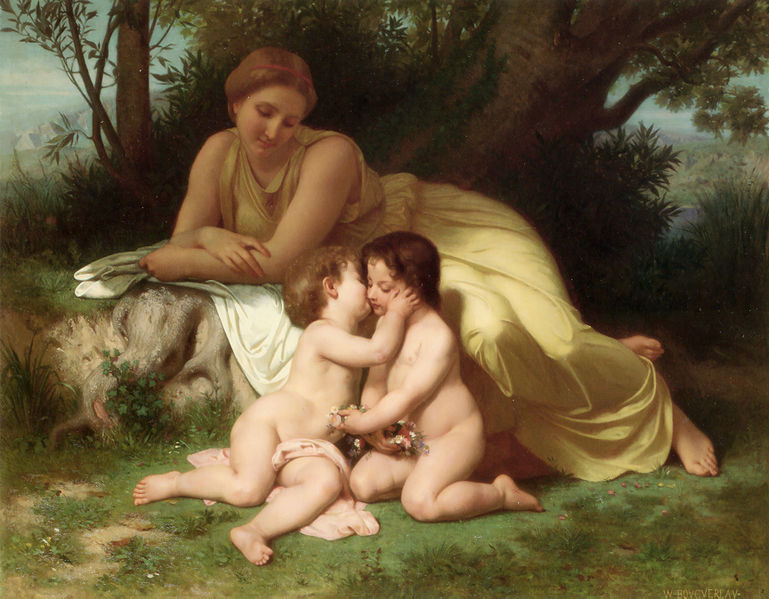 File:William-Adolphe Bouguereau (1825-1905) - Young Woman Contemplating Two Embracing Children (1861).jpg