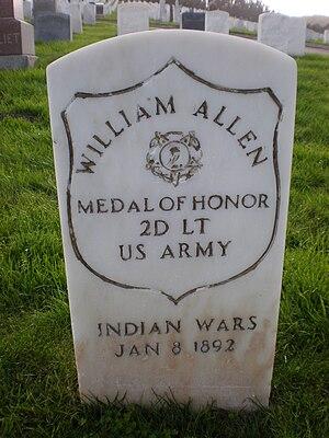 William Allen (soldier) - Allen's headstone at San Francisco National Cemetery