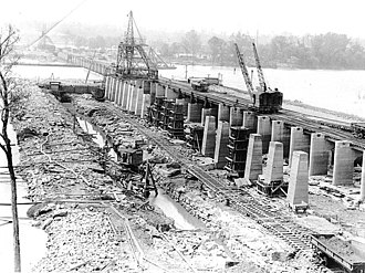 Wilson Dam - Image: Wilson Dam Construction in 1919