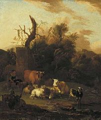 Wooded Landscape with Cattle