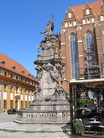 1732 monument on Cathedral Island in Wroclaw, by Jan Jiri Urbansky Wroclaw Nepomucen 1.jpg