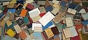 Books burned by the Nazis on display at Yad Vashem.