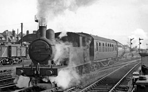 Yarmouth Beach railway station - Holiday express from Derby in 1951
