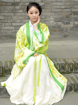 Chinese people - Woman wearing yellow and green hanfu, a traditional dress of Han people