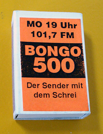 """Radiofabrik - Matchbox with an ad of """"Pirateradio Bongo 500"""", from 1992"""