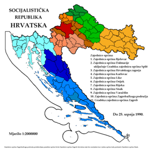 Administrative divisions of Croatia - Unions of municipalities (1986-1990)